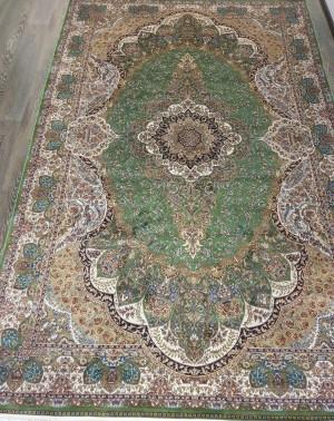 Турецкий ковёр шелковый QUM 2041- 9054E YESIL/BEJ
