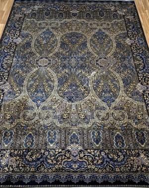 Турецкий ковёр шелковый QUM 2007-CRE 9064 LACIVERT